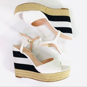 Kate Spade Espadrille Sandal Wedges Stripes Size 9